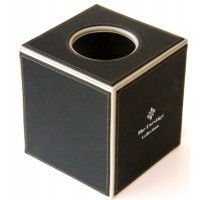 Black Leather Square Tissue Box