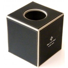 Black Leather Square Tissue Box