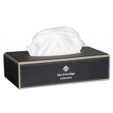 Black Leather Rectangle Tissue Box
