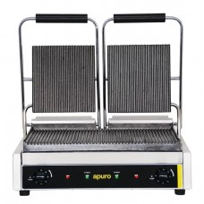 Bistro Double Contact Grill Ribbed Plates