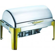 Delux Rectangular Roll Top Chafer with Gold Legs