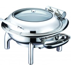 Round Chafing Pan with Glass Lid