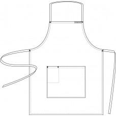 Full Bib white Apron with Pocket