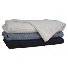 Cotton Waffle Blanket - Blue QB/KB