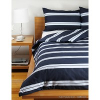 Hudson Stripe Navy Single Bed Duvet Cover Set