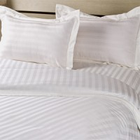 Satin Stripe Queen Bed Duvet Cover Set