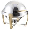 Chrome Round Roll-Top Chafer with Gold Legs