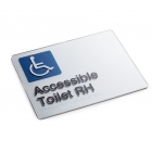 Silver Braille Sign - Disable Toilet Right Hand
