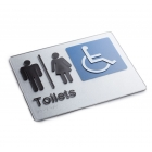 Silver Braille Sign - Male Female Disable Toilet