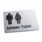 Silver Braille Sign - Unisex Toilet